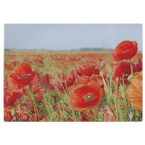 Poppies Tempered Glass Chopping Board